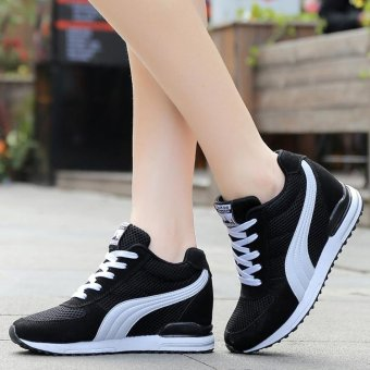 Fashion Women Casual Shoes Hidden Wedges Women Canvas Shoes Ladies Platform Trainers High Top Boots Inner Heightening Heels Shoes ( Black ) - intl