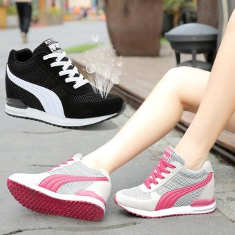Fashion Women Casual Shoes Hidden Wedges Women Canvas Shoes LadiesPlatform Trainers High Top Boots Inner Heightening Heels Shoes (Pink ) - intl