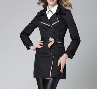 Fashion Women Casual Trench Coat Overcoat Korean Style Female Solid Color Coats Jackets Outerwear (Black)