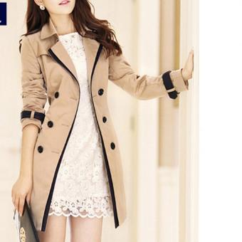 Fashion Women Casual Trench Coat Overcoat Korean Style Female SolidColor Coats Jackets Outerwear (Khaki)