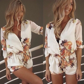 Fashion Women Chiffon Deep V-Neck Print Jumpsuit Half Sleeve High Waist Casual Short Jumpsuit