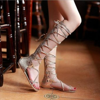 Fashion Women Flat Cut Out Lace Up Knee High Gladiator Sandals Boots Shoes Size HIGH BARREL GOLD - intl