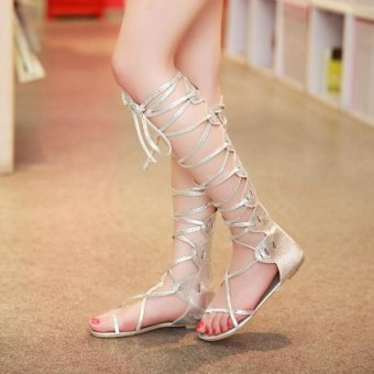 Fashion Women Flat Cut Out Lace Up Knee High Gladiator Sandals Boots Shoes Size LOW BARREL SILVER - intl