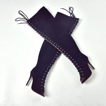 Fashion Women High Over Knee Boots Sexy Long Boot Heels Fish Mouth Shoes - intl