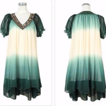 Fashion Women Loose Chiffon Dress Short Sleeve Maternity Dress Soft & Comfortable Pregnant Woman Clothing Dresses Deep Green/Beige - intl - 5