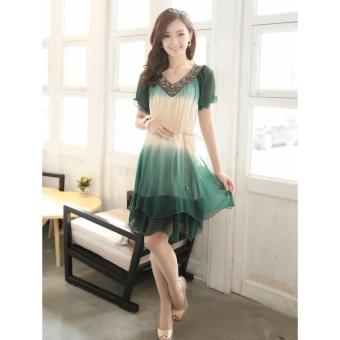 Fashion Women Loose Chiffon Dress Short Sleeve Maternity Dress Soft & Comfortable Pregnant Woman Clothing Dresses Deep Green/Beige - intl