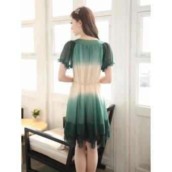 Fashion Women Loose Chiffon Dress Short Sleeve Maternity Dress Soft & Comfortable Pregnant Woman Clothing Dresses Deep Green/Beige - intl - 2