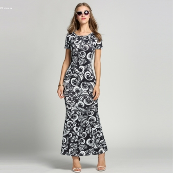 Fashion Women O-Neck Short Sleeve Print Bodycon Maxi Long Dress (Black)