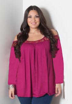 Fashion Women Off Shoulder Plus Size Long Sleeve Blouse (Rose Red)- intl
