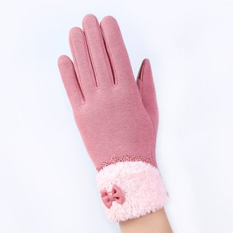 Fashion Women Outdoor Winter Warm Click Touch Screen Gloves (Pink) - intl