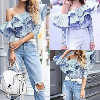Fashion Women Ruffles Off Shoulder Top Long Sleeve Blouse Striped Shirt - intl