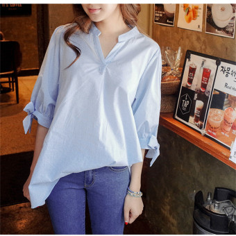 Fashion Women Shirt Stripe Blue Cotton Casual Summer Shirt ShortSleeve Loose Chiffon Shirt Plus Size Cute Travel Blue - Intl