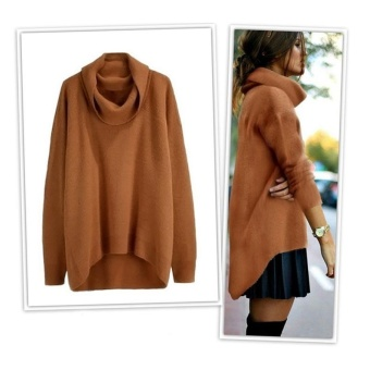 Fashion Women TaAmart Fashion Women Turtleneck Knitted SweaterIrregular Long Sleeve Loose Winter Autumn Jumper PulloversKnitwear(Brown)urtleneck Knitted Sweater Irregular Long SleeveLoose Winter Autumn Jumper Pullovers Knitwear - intl