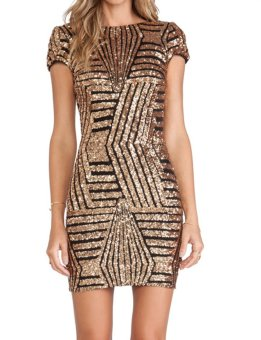 Fashion Women's Sequins Backless Cocktail Evening Sexy Party Dress (Gold) - Intl