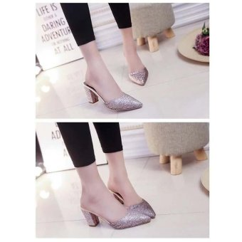 Fashion Women's Shoes Summer Flip Flops Block Heels Sandals Sequins Flowers High Heels Pointed Toe Color Gold - intl - 2