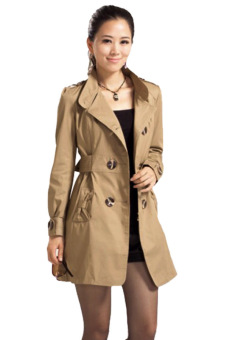 Fashion Womens Slim Fit Double-breasted Long sleeve Coat Jacket long Outwear (Brown)