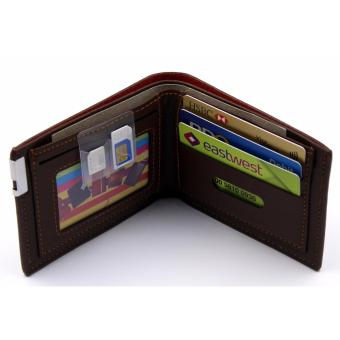 Fashionable Mens Short Wallet With Simcard Pocket Holder (BROWN )FREE GIFT BOX AND MICROWAVABLE PLASTIC CONTAINER - 3