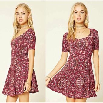 Fashionable Printed Red Floral Dress