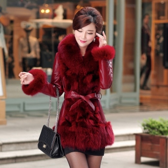 Faux leather female mid-length new Haining fur jacket down clothes (Red [cuff behind with hair])