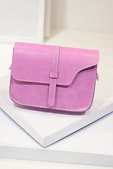 Faux Leather Satchel Crossbody Bag (Pink)