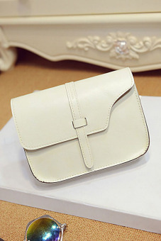 Faux Leather Satchel Crossbody Bag (White)