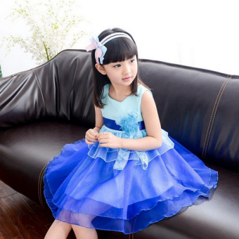 Female big kid New style girls vest skirt dress (Blue)