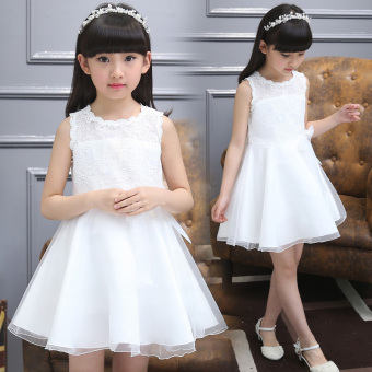 Female big kid New style girls white dress