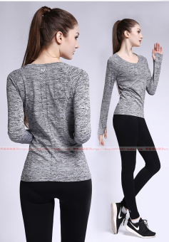 Female Fitness running yoga clothes I Top I long-sleeved t-shirt (Duan Ran gray)