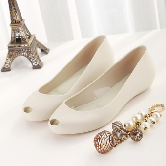 Female flat heel gel shoes New style flat sandals (Beige) (Beige)