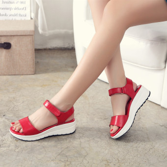 Female flat thick bottomed women's shoes leather sandals (Red)