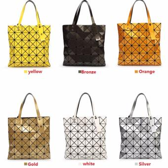 Female Folded Geometric Plaid Bag Madam Fashion Casual Tote TopHandle Bag Distortion Package Shoulder Bag (Yellow) - Intl - intl - 5