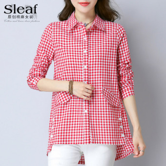 Female long-sleeved SLEAF Fold-down collar cardigan shirt (Red Cell)
