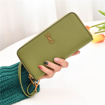 Female long zipper wrist bag large capacity leather wallet New style wallet (Green)