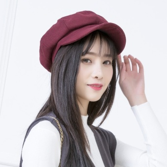 Female Male Spring and Autumn beret cap hat (Octagonal cap wine red)