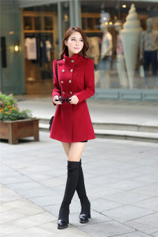Female mid-length Korean woolen coat women's coat (Wine red color)