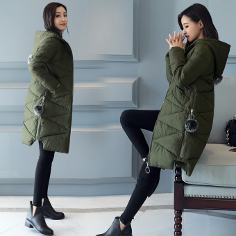 Female mid-length New style thick coat padded (Deep dark green)