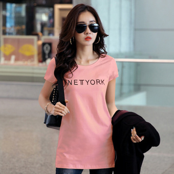 Female mid-length short sleeved New style printed Top T-shirt (Pink color)