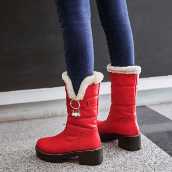 Female New style Liang Zuan tube Martin boots winter boots (Red)