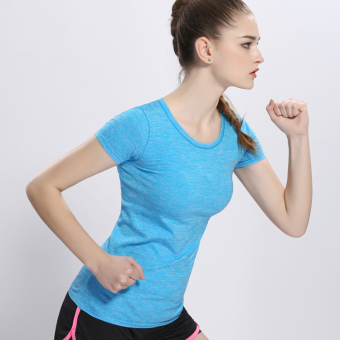 Female Slim fit running fitness clothing yoga clothes Sports Short sleeved t-shirt (Sky blue color) (Sky blue color)