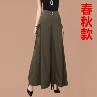 Female spring and summer New style high-waisted culottes wide leg pants (Dark green [Spring and Autumn]) (Dark green [Spring and Autumn])