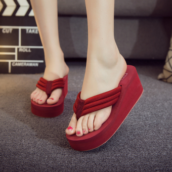 Female thick bottomed non-slip flip-flop slippers flip-flops (Wine red color)
