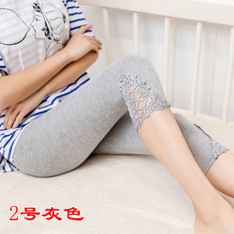 Female thin Plus-sized lace pant leggings (Gray 7 points 2 No.)