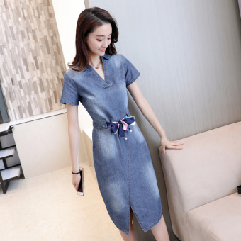 Female thin short-sleeved long section denim dress women's denim skirt