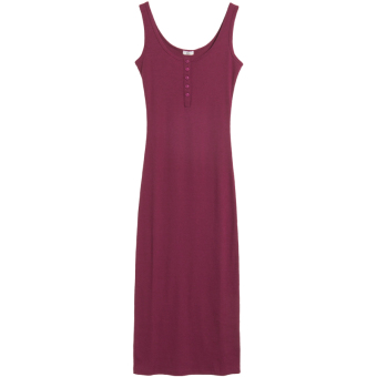 Female underwear Slim fit mid-length vest dress Korean-style strap (Red Wine)
