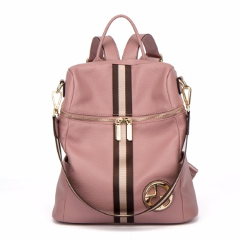 FIGESTIN Backpack Female Genuine Leather Women Backpacks School Bag Pink Stripe Multifunctional Leather Back pack on Shoulder - intl