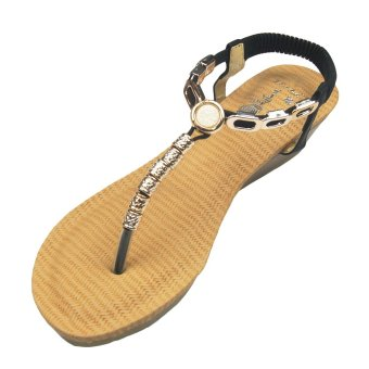 First Gladiator Strappy Flat Thongs sandals with Circle Design (Black)