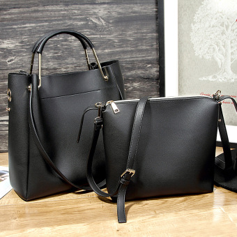 First layer of leather handbag fashion shoulder bag (Black)