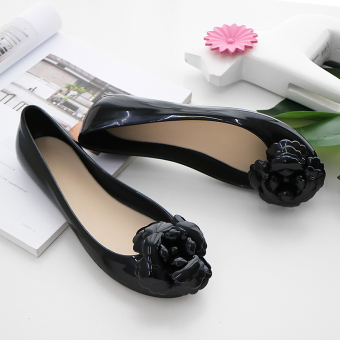 Flat camellia flower jelly shoes waterproof sandals (Black)