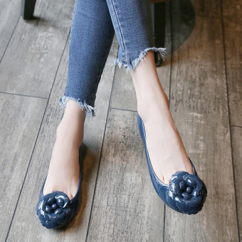 Flat camellia flower jelly shoes waterproof sandals (Sapphire blue color)