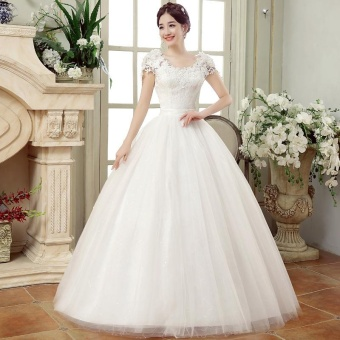 Floor Length Lace Wedding Dress IvoryPlus Size Bridal Gown LaceWedding Dresses for Bride - intl
